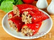 Рецепта Пълнен пипер (чушки) с ориз, кайма и гъби в мултикукър